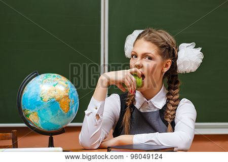 Excellent Student In Geography Lessons.