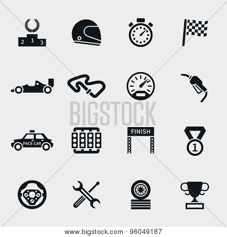 Car race icons set