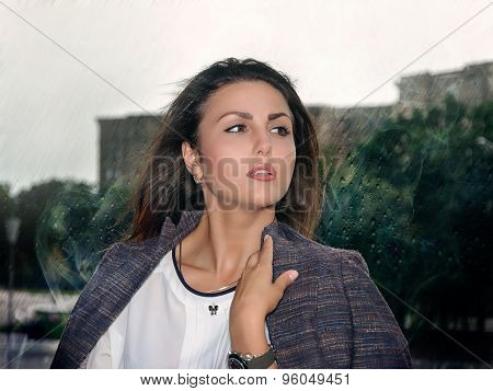 Business Woman On The Background Of Bad Weather