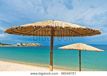 Beach near small greek village Toroni at morning in Sithonia