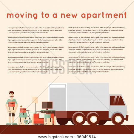 Moving into a new apartment. Man loading things into the truck. A bunch of things. Flat style vector