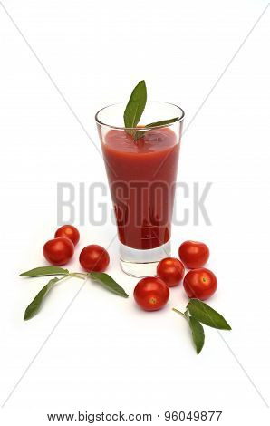 Glass Of Tomato Juice And Cherry Tomatoes