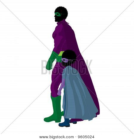 African American Super Hero Dad Illustration Silhouette