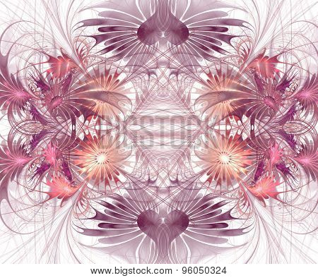 Beautiful Fractal Flower Background. Computer Generated Graphics. Artwork For Creative Design, Art A