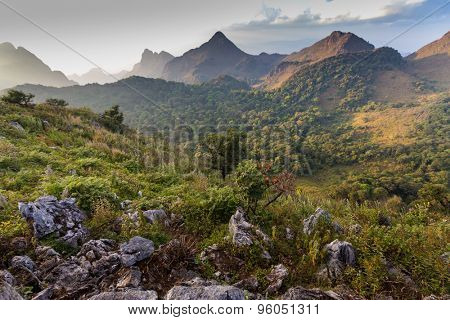 Landscape in the Chiang Dao mountains at dusk, Thailand