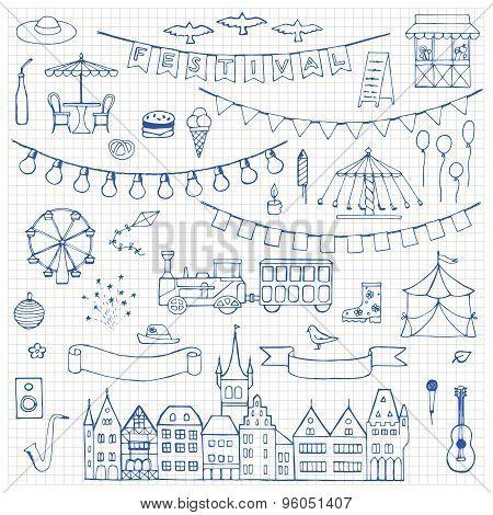 Festival hand drawn doodle set