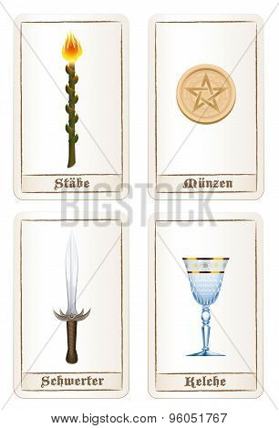 Tarot Cards Elements Pentacles Swords Wands Cups German