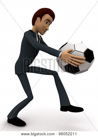 3D Man About Ot Kick Ball Of Soccer Concept