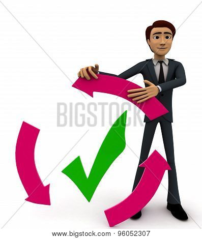 3D Man With Recycle Arrow And Correct Symbol Concept