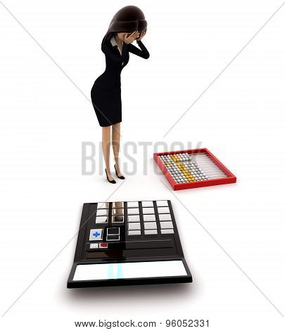 3D Woman Looks Worried About Calculation On Calculator And Abacus Concept