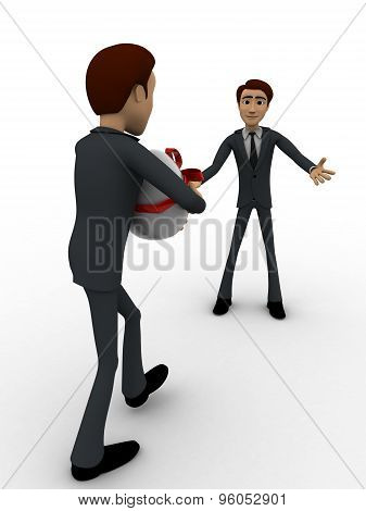3D Man Welcoming And Another Person Come With Gift For Him Concept
