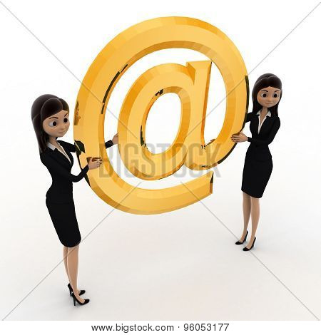 3D Woman Holding Big Golden Email Icon Concept