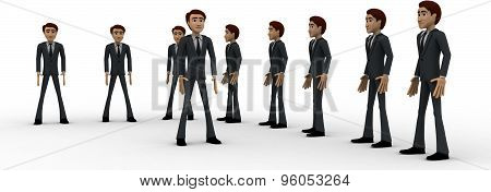 3D Men Group With Team Leader In Front Concept