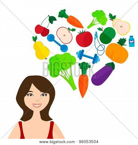 Slender girl, fresh fruits and vegetables. The right lifestyl