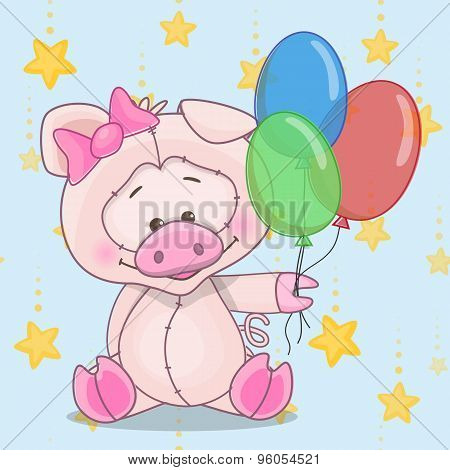 Pig With Baloons
