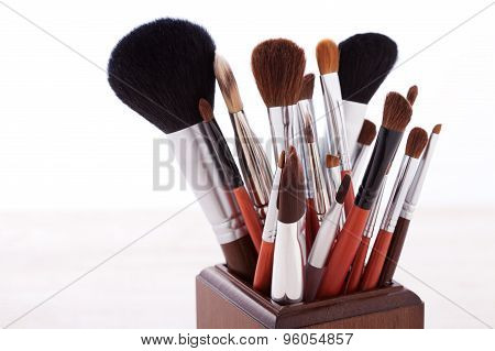 Professional Makeup Brush On White Wooden Background