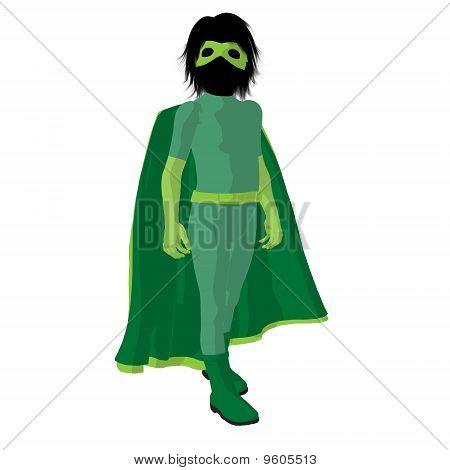 Super Hero muchacha ilustración silueta