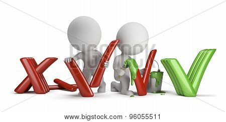 3d small people modify the negative signs in the positive. 3d image. Isolated white background.