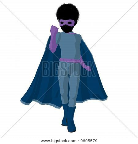 African American Super Hero Boyl Illustration Silhouette