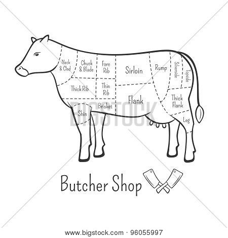 British Cuts Of Beef Diagram And Butchery Design Element
