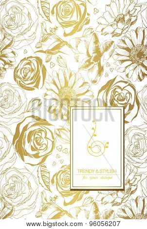 Elegant floral card with lace ornament and place for text. Flowers on gold background. Vector illust