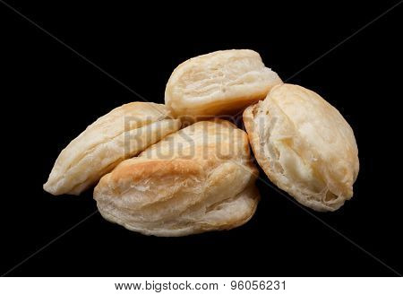 Tyropitakia (Greek Cheese Parcels) isolated on black