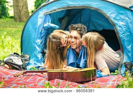 Group Of Best Friends Having Fun Camping Together - Concept Of Carefree Youth And Freedom Outdoors
