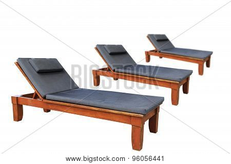 Wooden Sunbed With Pillows Isolated On White