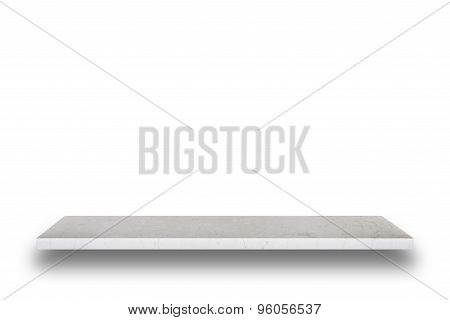 Empty Top Of Natural Stone Table Or Counter Isolated On White Background