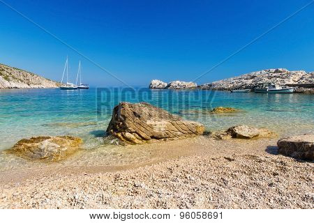 Beach In The Adriatic Sea On The Island Of Hvar, Croatia.