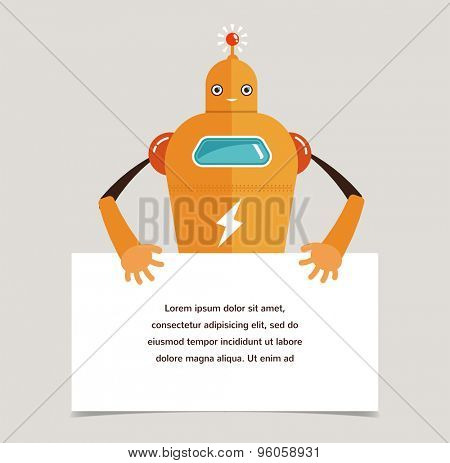 Cute robot character with a banner
