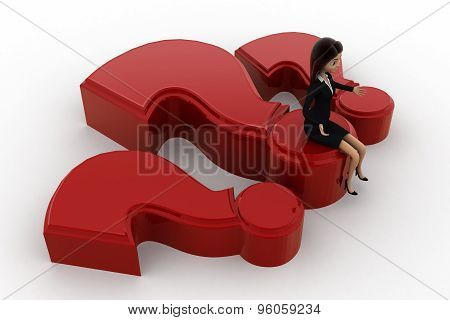 3D Woman Sitting On Big Red Question Makr Concept