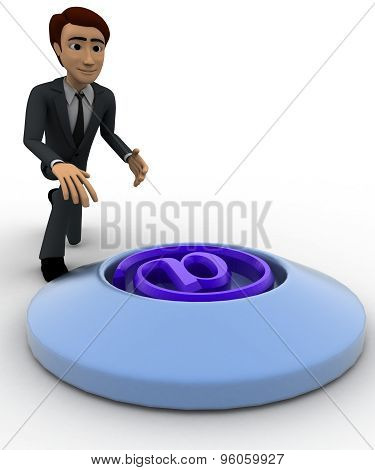 3D Man Press Button With Email Icon Concept