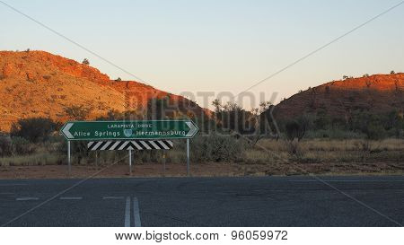 Outback highway Larapinta Drive junction