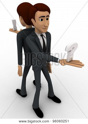 3D Man Stading On Opssite Direction And Holding Question Mark In One Hand Concept