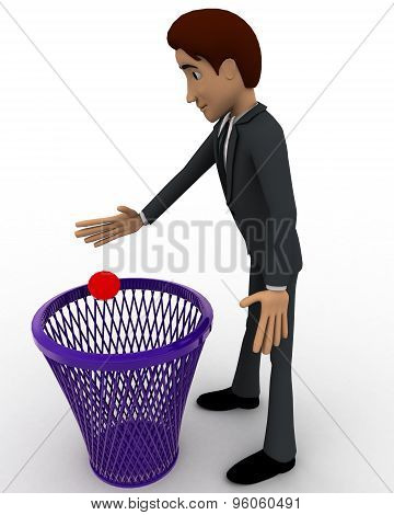 3D Man Throughing Waste In Dustbin Concept
