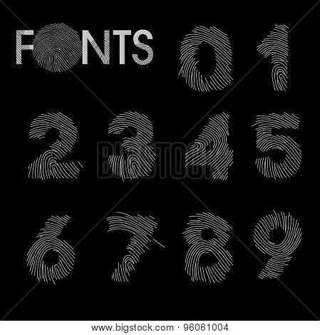 Finger print numbers best font vector