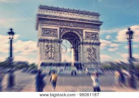 Abstract Background. Arch Of Triumph, Paris, France.  Blur Effect Defocusing Filter Applied