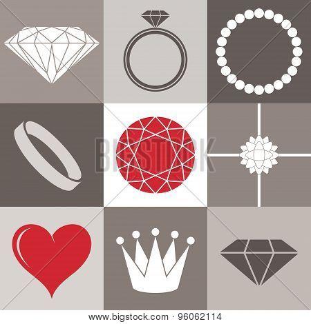 Jewelry. Icon set