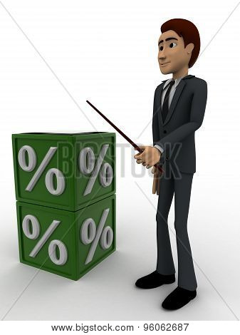 3D Man With Green Percentage Cube Box Concept
