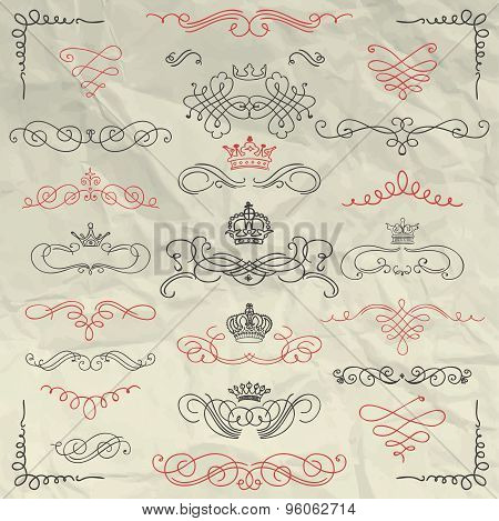 Vintage Hand Drawn Swirls and Crowns on Crumpled Paper