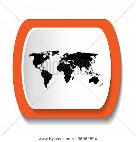 Black Vector Map Of The World In The Round Icon