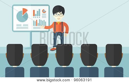 A chinese marketing officer show his business plan to his team. Teamwork concept. A contemporary style with pastel palette soft blue tinted background. Vector flat design illustration. Horizontal