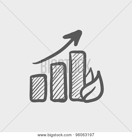 Growing graph sketch icon for web and mobile. Hand drawn vector dark grey icon on light grey background.
