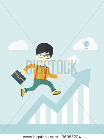 A happy chinese career guy running going to a graph arrow up and have a brilliant idea on how to achieve his goal. Business progress concept. A contemporary style with pastel palette soft blue tinted