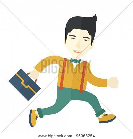 A chinese buisnessman walking with his briefcase. A Contemporary style. Vector flat design illustration isolated white background. Square layout
