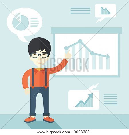 A japanese finance officer with his presentation that shows in a graph the arrow from top going down. A contemporary style with pastel palette soft blue tinted background. Vector flat design