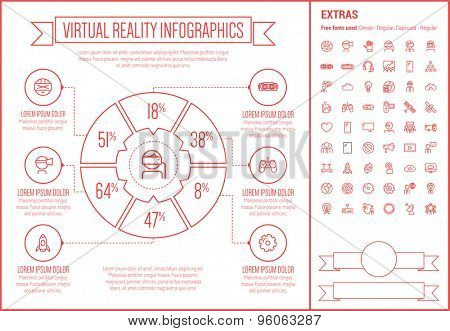 Virtual Reality infographic template and elements. The template includes the following set of icons - Virtual reality headset, gaming, robotic hand, and more. Modern minimalistic flat thin line vector