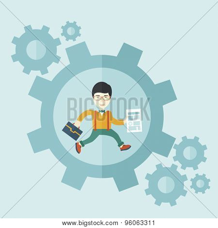 A japanese guy running while carrying a bag and paper as his business proposal inside the big gear. Business concept. A contemporary style with pastel palette soft blue tinted background. Vector flat