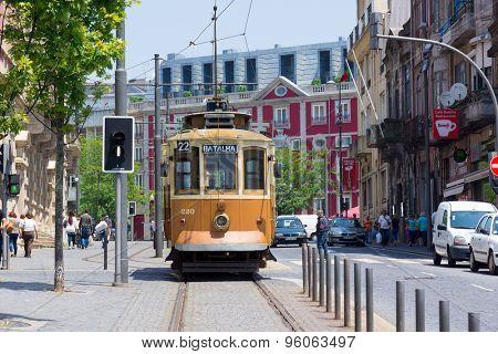 PORTO, PORTUGAL - JUNE, 16: Old tram in the old city on June 16, 2015 in Porto, Portugal